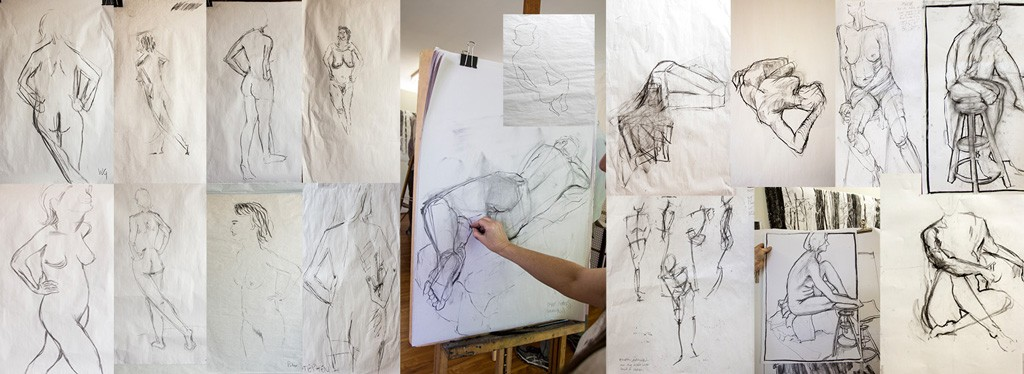 Student works over the one day workshop from the beginning of the day on the left to their drawings at the end of the day on the right